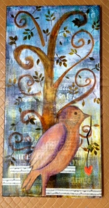 The Love Bird Mixed media on canvas 12 x 24""