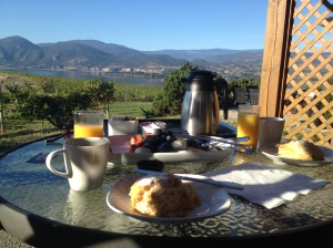 Breakfast on the deck. Our last morning.