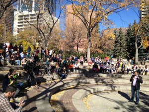 Mayor Nenshi addresses the crowd