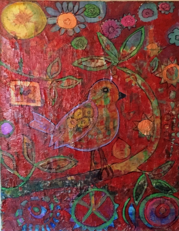 """Bird of Contentment Mixed Media 24"""" x 30"""" Louise Gallagher 2014"""
