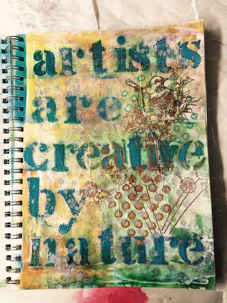 Art Journal Acrylic and embossing February 2, 2015 Louise Gallagher