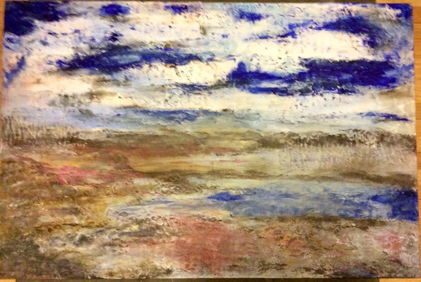 """The Long View 26"""" x 32"""" Acrylic on board 2016 Louise Gallagher"""