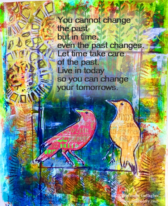 Time Passes Art Journal Entry Mixed media on water colour paper